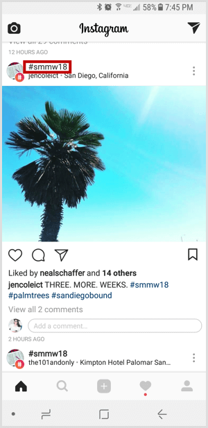 Instagram hashtag in feed