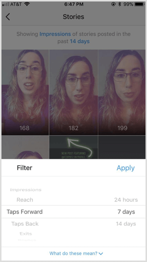 Instagram Insights Stories filters