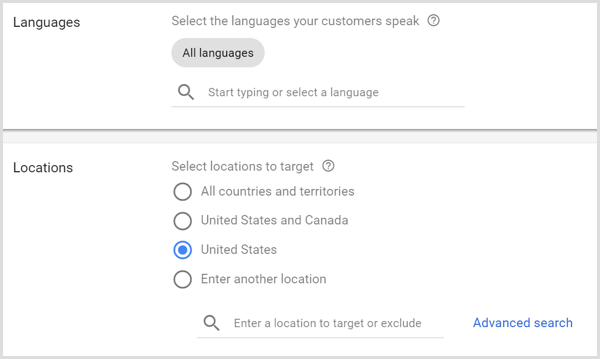 Languages and Locations settings for Google AdWords campaign.
