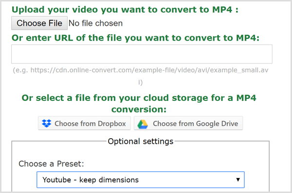 Online Convert app create MP4 file