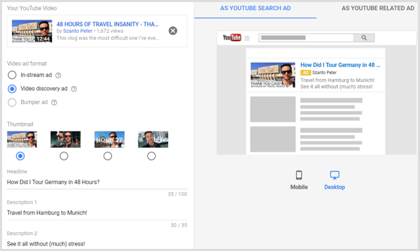 Set up YouTube video creative for AdWords campaign.