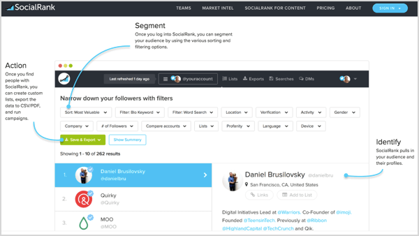 SocialRank makes it easy to analyze your Twitter and Instagram followers.