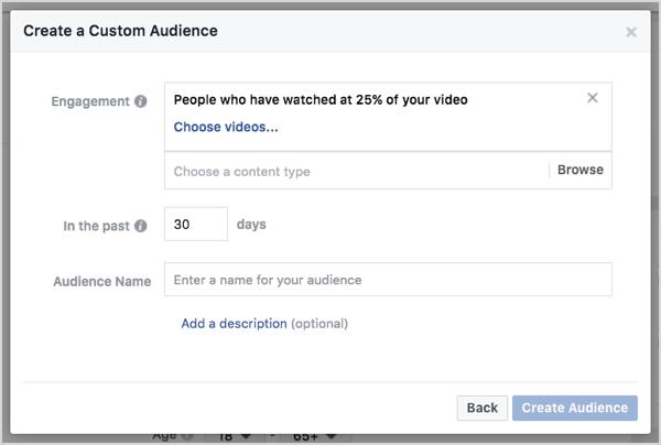 Facebook custom audience based on video views in 30 days.