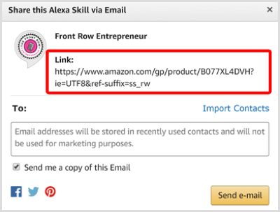 Copy the Share link for your skill in the Alexa Skill store.