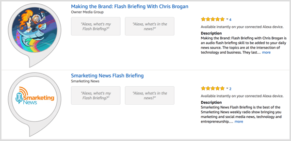 Search for flash briefings in the Alexa Skill Store.