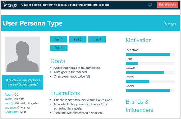 Create a buyer persona with a template from Xtensio.