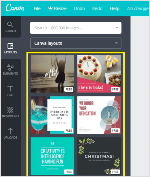 Canva template layouts