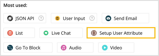 Select Setup User Attribute in Chatfuel.