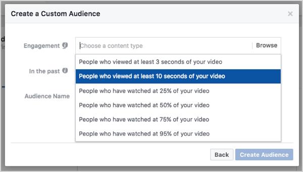 Facebook custom audience based on 10-second video views.