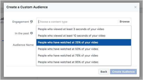 Facebook custom audience based on 25% video views.