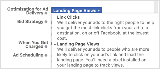 Optimize your Facebook ad delivery for Landing Page Views.