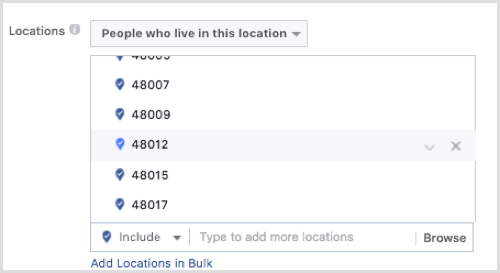 Facebook ad targeting by zip code.