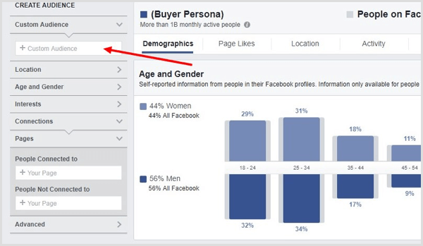 In Facebook Audience Insights, select a custom audience you've created.