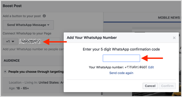 Enter the confirmation code you received via SMS to connect your WhatsApp Business account with Facebook.