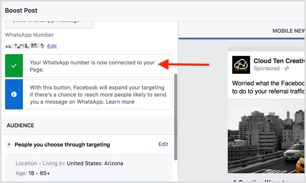 Facebook confirms that you've connected your Facebook page to WhatsApp.