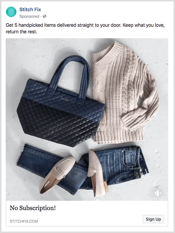Facebook conversion ad from Stitch Fix has a Shop Now button.