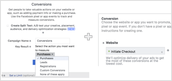 Create a Facebook campaign with the Web Conversions objective and select the action you want your audience to perform.