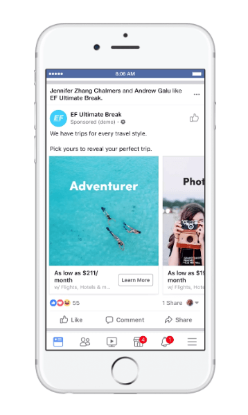 Facebook rolled out a new type of dymanic ad for travel called, trip consideration.