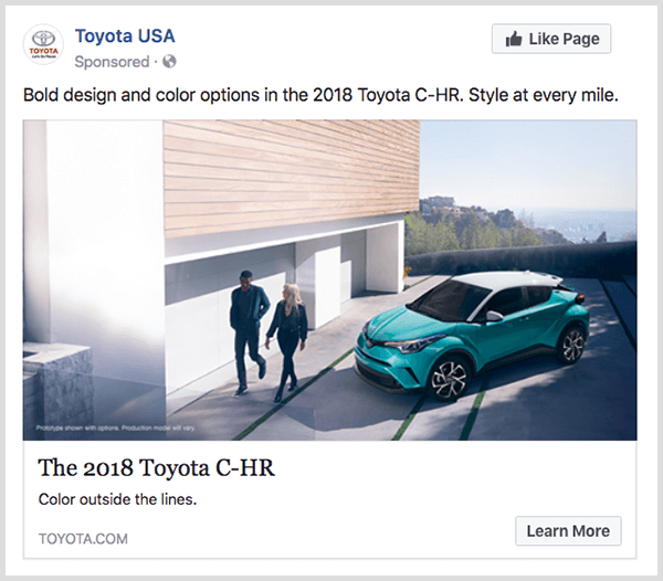 Facebook engagement ad from Toyota features turquoise Toyota C-HR and has a Learn More button.