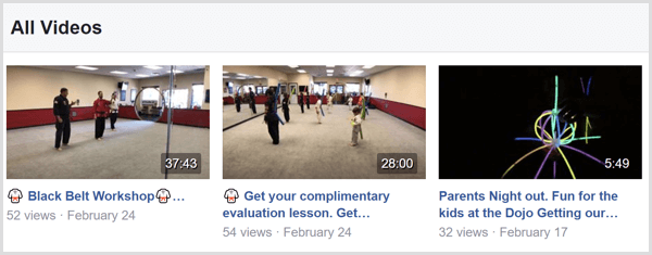 Example of Facebook Live video titles on a Facebook page