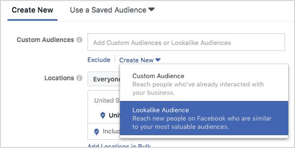 Facebook lookalike audience creation.