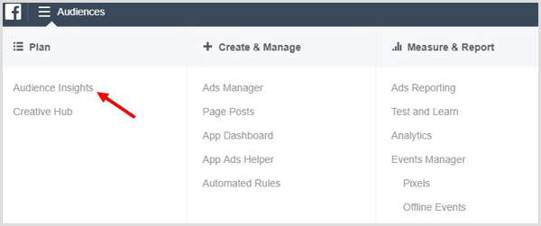 In Ads Manager, click Audience Insights.