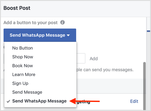 Select the Send WhatsApp Message option when you boost a Facebook post.