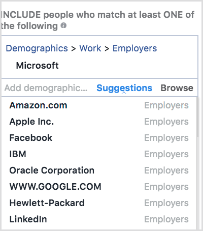 Facebook offers suggestions in the Detailed Targeting section.
