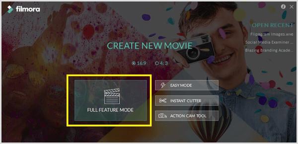 Filmora start screen
