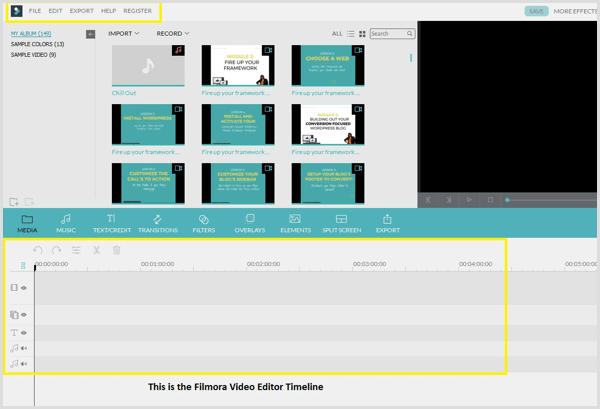 Filmora video editor and timeline
