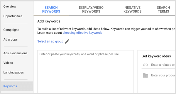 Google Adwords add keywords to ad group