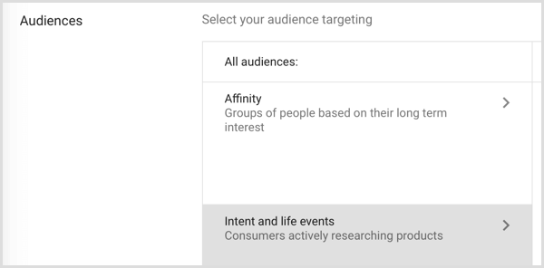 Google Adwords audience targeting life events