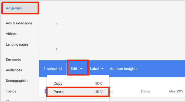 Google Adwords copy and paste ad groups