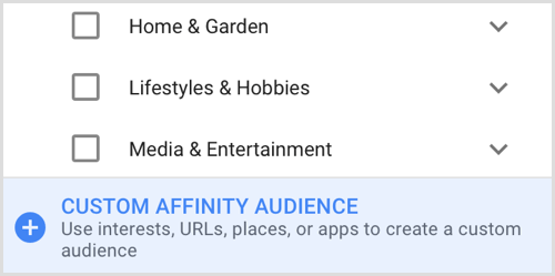 Google Adwords create custom affinity audience