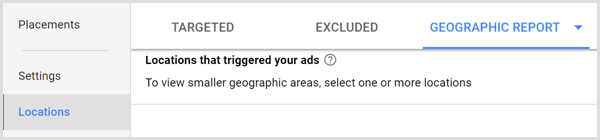 Google Adwords geographic report tab