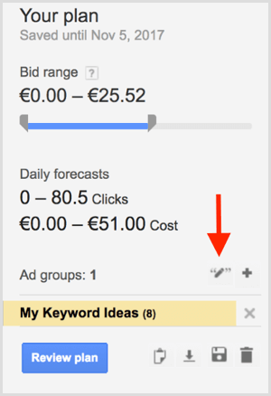 Google AdWords Keyword Planner match type