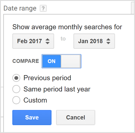 Google AdWords Keyword Planner search compare date ranges
