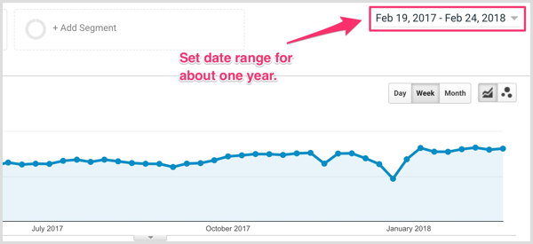 Select a date range in Google Analytics.