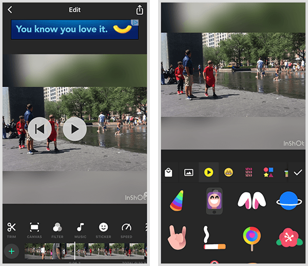 InShot video editing app includes a timeline and stickers.