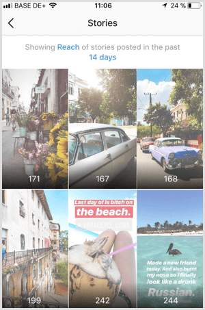 View Instagram Stories Reach data in Instagram Analytics.