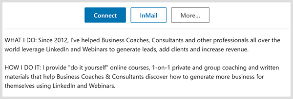 John Nemo's LinkedIn profile notes what he does and how he does it.
