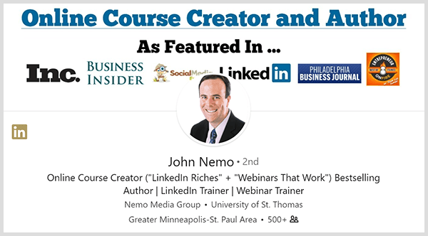 John Nemo used his LinkedIn profile to find new clients.