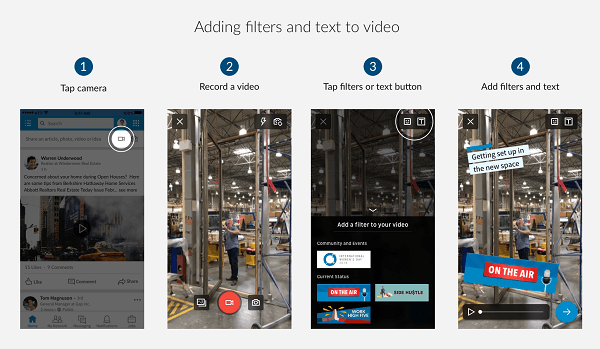 LinkedIn released news filters and text styles for LinkedInvideo.