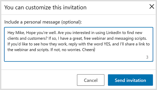 LinkedIn connection invitation with a personal message is based on John Nemo's four suggestions.