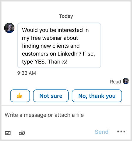 LinkedIn messages show your recipient smart replies like a thumbs up.