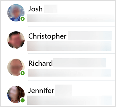 LinkedIn messaging contacts list shows a green dot next to users who are currently active.