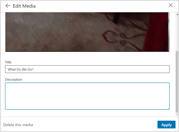 The Edit Media dialog box that you see when you link to a video on your LinkedIn profile