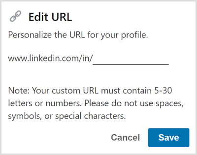 Edit the URL for your LinkedIn profile.