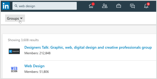 The search results on LinkedIn filtered to the Groups tab