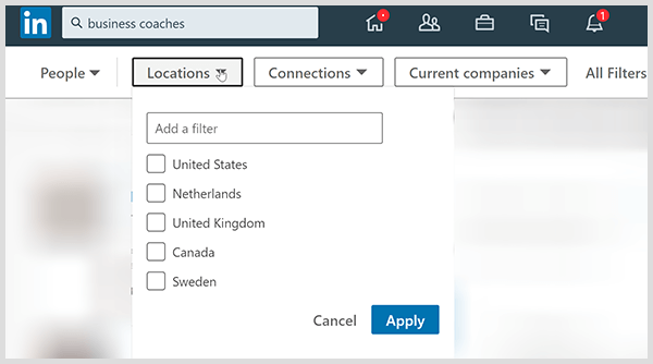 LinkedIn search results page has filters for location connections and company.